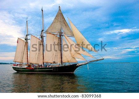Old Fashion Sail Boat near Harbor