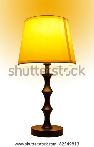 Old fashion table lamp and yellow light