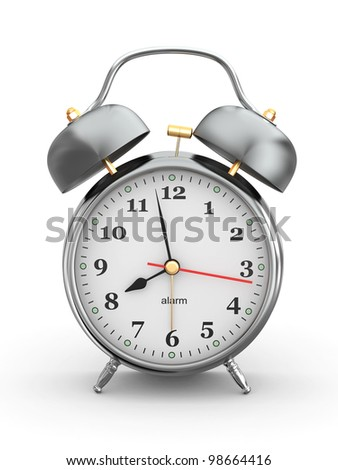 Old-fashioned alarm clock on white background. 3d