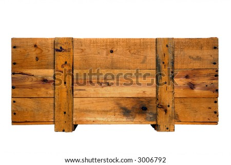 Old fashioned antique wood crate goods shipping box with distressed wooden boards isolated on white