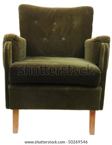 old fashioned armchair isolated on white with clipping path
