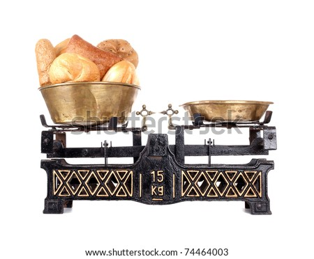Old-fashioned balance scale with breads  isolated on white background