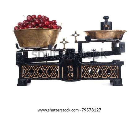 Old-fashioned balance scale with cherries isolated on white background