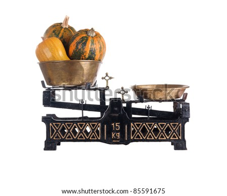 Old-fashioned balance scale with pumpkins isolated on white background