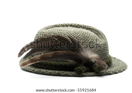 old-fashioned bavarian man's hat - stock photo