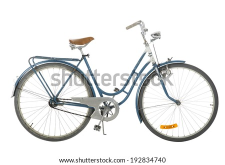 Old fashioned bicycle isolated on white background