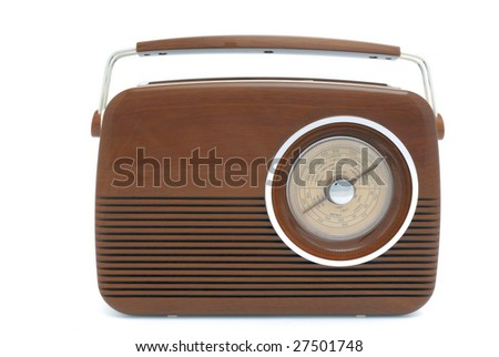 Old fashioned brown radio at white background
