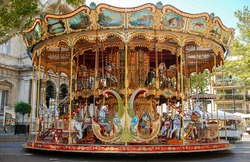 Old-fashioned carousel Near The Palais Des Papes in Avignon, France