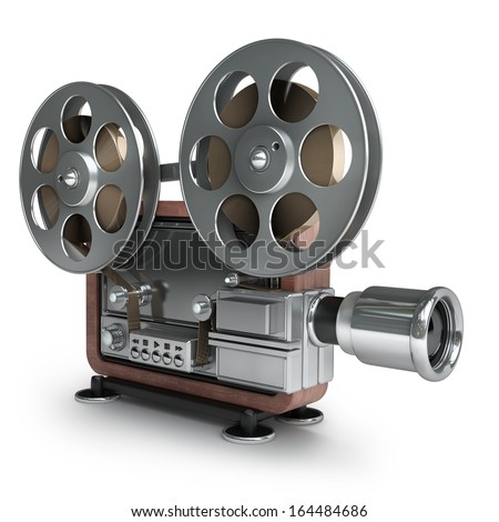 Old Fashioned Cinema Projector Isolated On White Background High Resolution 3d 164484686