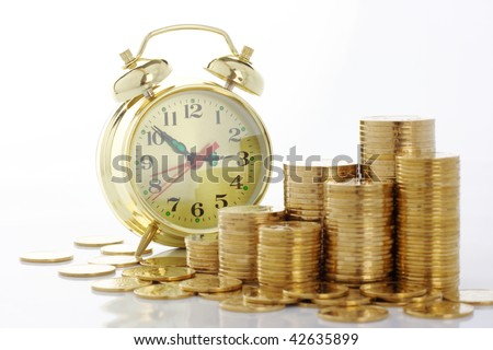 Old-fashioned clock dial on golden coins background, time is money concept, isolated over white
