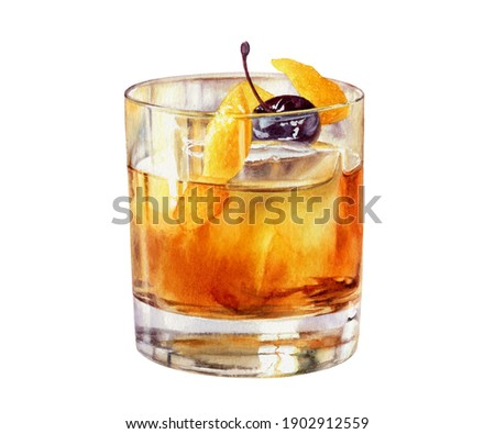 Old Fashioned cocktail in a rocks glass with a Luxardo Cherry watercolor illustration isolated on white background Foto stock ©