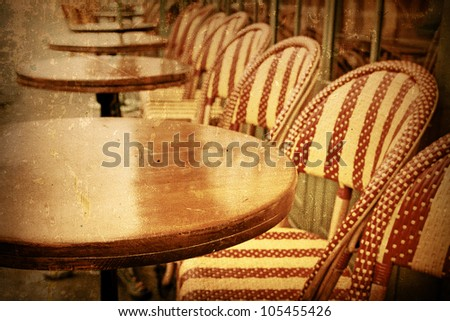 Old Fashioned Coffee Terrace With Tables And Chairs Paris France Stock Photo 105455426
