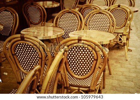 Old Fashioned Coffee Terrace With Tables And Chairs Paris France Stock Photo 105979643