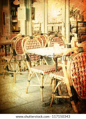 Old Fashioned Coffee Terrace With Tables And Chairs Paris France Stock Photo 117150343