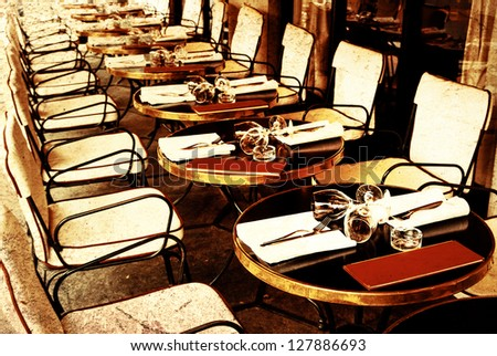 Old Fashioned Coffee Terrace With Tables And Chairs Paris France Stock Photo 127886693