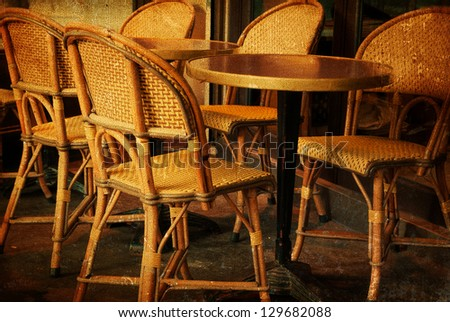 Old Fashioned Coffee Terrace With Tables And Chairs Paris France Stock Photo 129682088