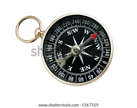 old-fashioned compass, isolated on white background