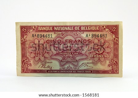 Old fashioned currency money, notes bills, isolated on white, macro ...