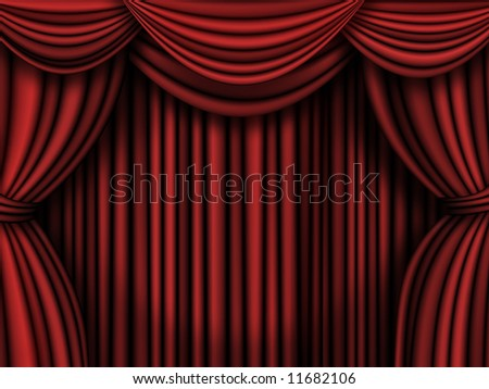 Old fashioned, elegant theater  curtains.
