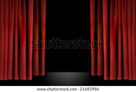 Old fashioned elegant theater stage with red velvet curtains