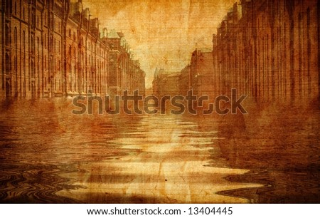Old fashioned flooded street
