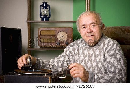 old fashioned gramophone - stock photo