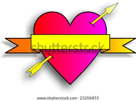 stock photo : old fashioned heart tattoo with arrow and banner