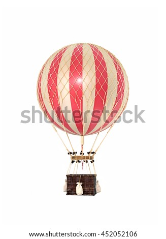 Old fashioned helium balloon isolated on white background.