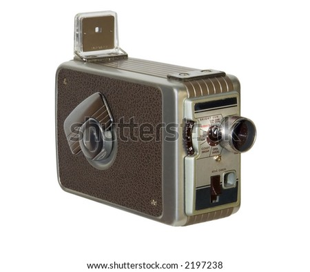 Old-fashioned home movie camera isolated on white background - stock ...