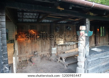 Old-fashioned houses and various utensils. Old-fashioned furnace #1200985447