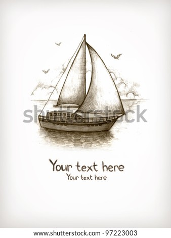 Old fashioned illustration of sailing boat
