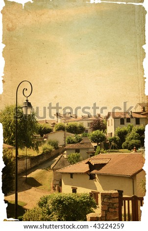 old-fashioned landscape - antique house - village