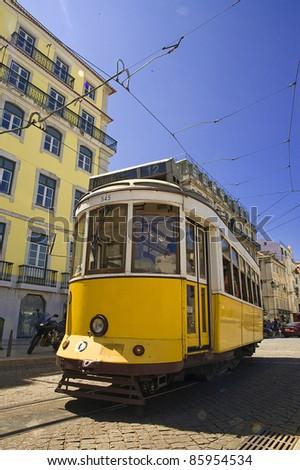 Old fashioned lisbon yellow tram