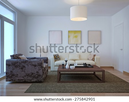 Old Fashioned Living Room Design. 3d Render