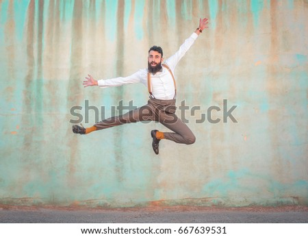 Old-fashioned man jumping high #667639531