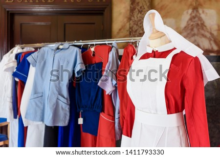 Old fashioned nursing uniforms, ranging from the Victorian to the modern era.