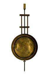 old fashioned pendulum isolated on white background brass colred stained and tarnished