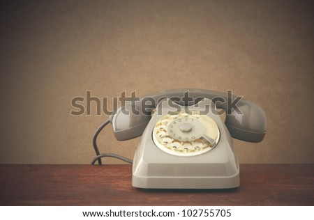 Old-fashioned phone, copy space