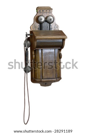 Old-fashioned phone isolated on a white background. 1912. Russia - stock photo