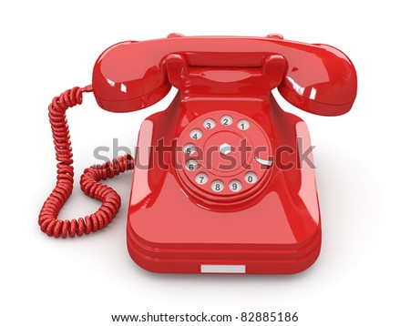 Old-fashioned phone on white isolated background. 3d