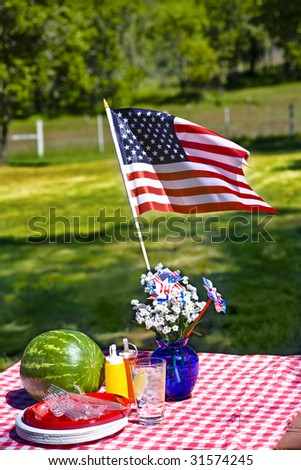 Old Fashioned Picnic with Red and White Checkered Tablecloth