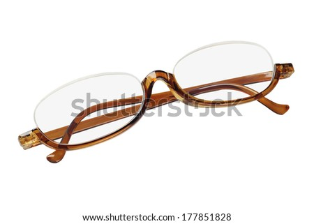 34b19d032c1b Old Fashioned Plastic Reading Glasses On White Background