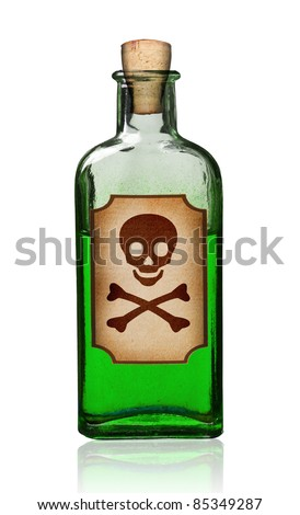 Old fashioned poison bottle with label, isolated, clipping path.