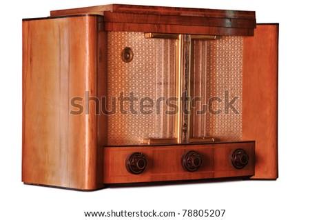 Old fashioned radio isolated on white