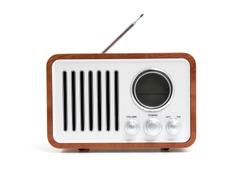 Old fashioned radio isolated on white background