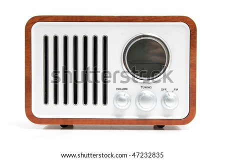 Old fashioned radio isolated on white background