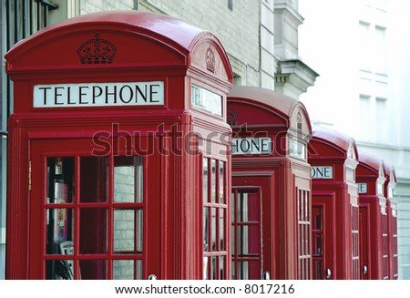 Old fashioned red telephone booths in London, United Kingdom