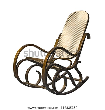 Old-fashioned rocking chair isolated over white