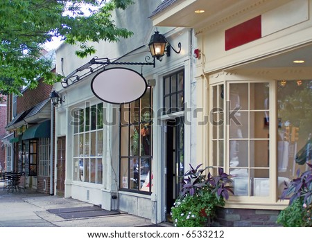 Old Fashioned Store Front 3 4 View With Blank Space For