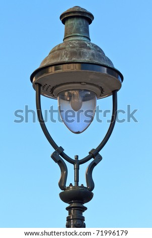 Old Fashioned Street Lamp Close Up View before Blue Sky